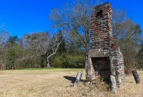 FILE - In this Tuesday, Jan. 29, 2019, file photo, a chimney, the last remaining original struc ...