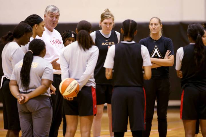 Aces coach Bill Laimbeer talks to his players during practice at Cox Pavilion in Las Vegas Wedn ...