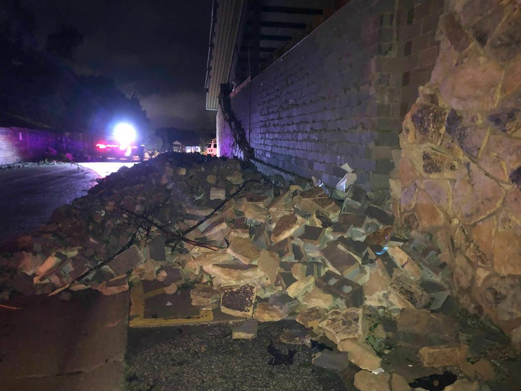 A wall is collapsed in Jefferson City, Missouri on Thursday May 23, 2019. The U.S. National Wea ...