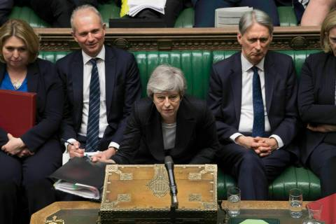 In this image made available by UK Parliament, Britain's Prime Minister Theresa May speaks duri ...