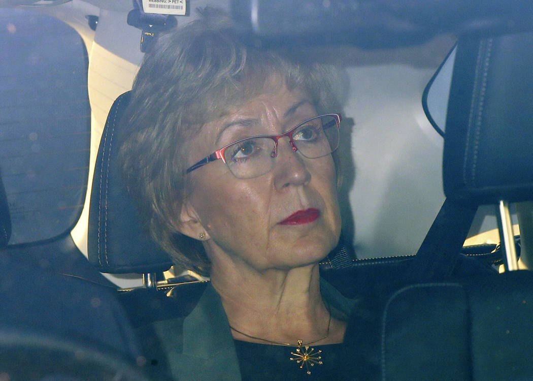 Leader of the House of Commons Andrea Leadsom leaves the Houses of Parliament in Westminster, L ...