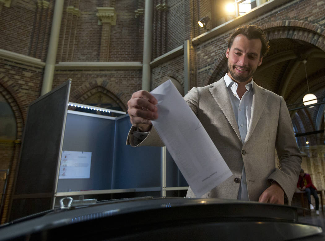 Thierry Baudet, leader of the populist party Forum for Democracy, casts his ballot for the Euro ...