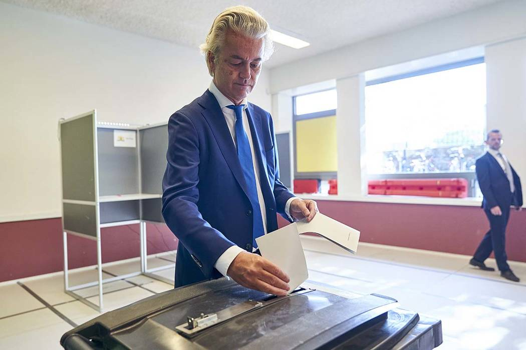 Leader of Dutch Party for Freedom Geert Wilders casts his ballot for the European elections in ...
