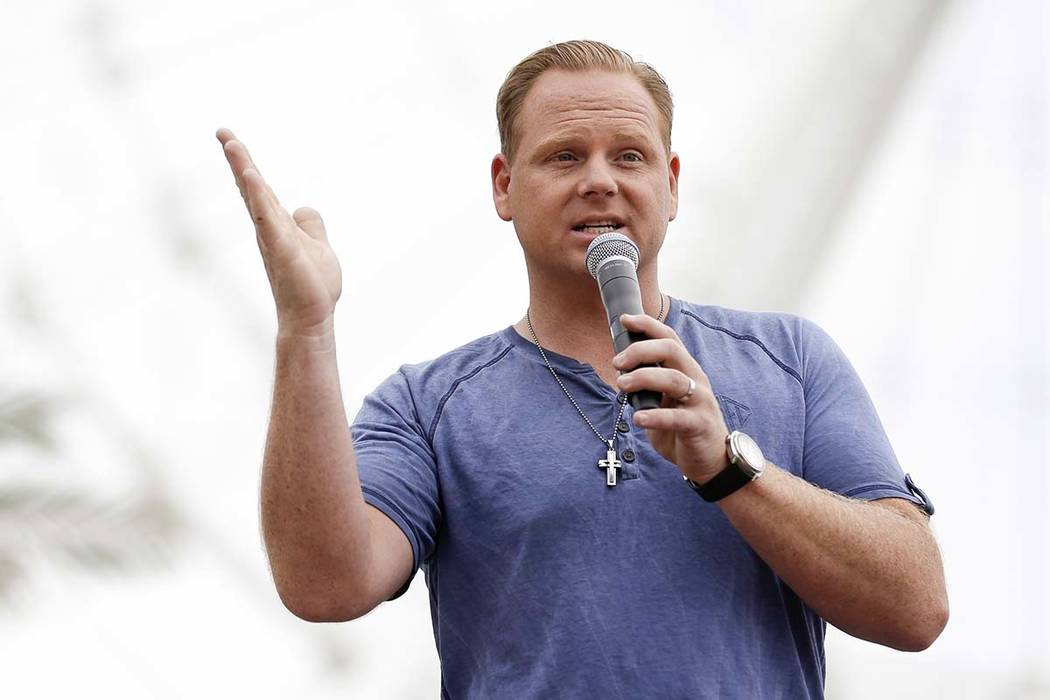 In a April 27, 2015, file photo, Nik Wallenda answers questions at a news conference in front o ...