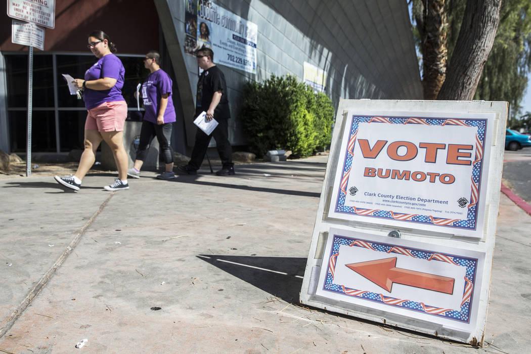 Voters walk into the Doolittle Community Center on Friday, June 8, 2018, in Las Vegas. Benjamin ...