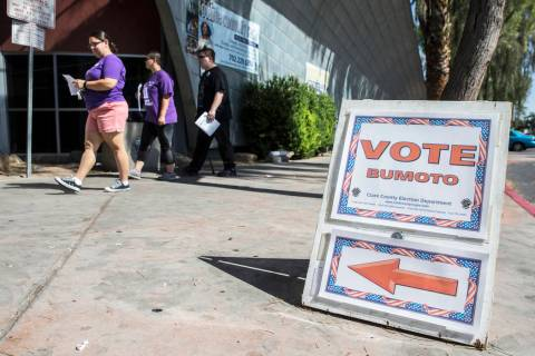 Voters walk into the Doolittle Community Center on Friday, June 8, 2018, in Las Vegas. Benjamin ...