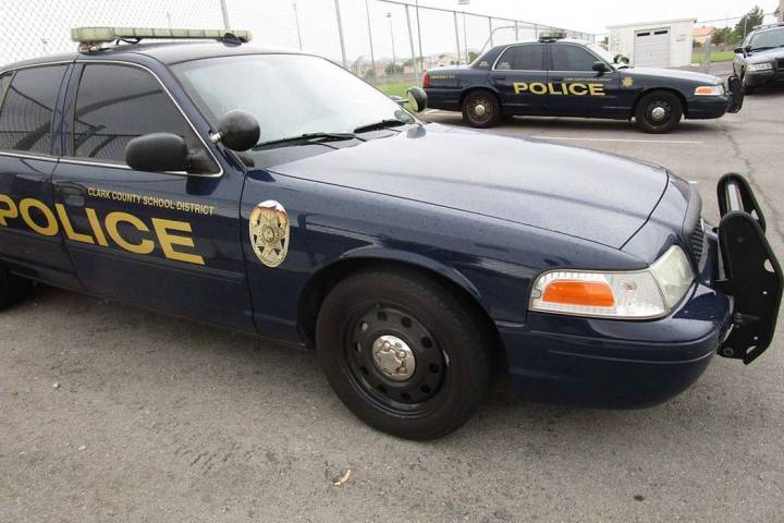 Clark County School District police cars. (Las Vegas Review-Journal file)