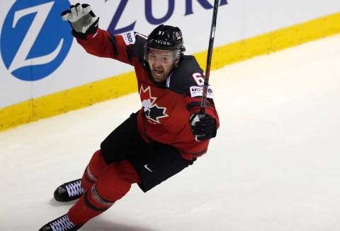 Canada's Mark Stone celebrates after scoring his side's third goal during the Ice Hockey World ...
