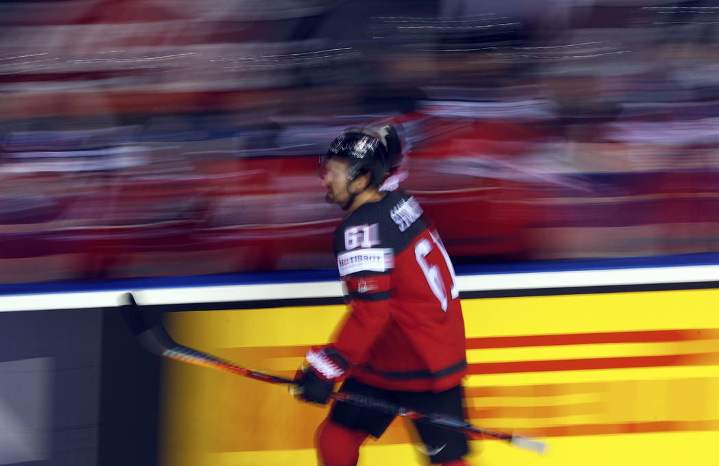 Canada's Mark Stone celebrates after scoring his side's first goal during the Ice Hockey World ...