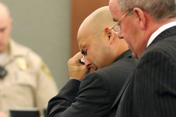 Mark Branco, left, is overcome with emotion while speaking to Judge Valerie Adair at Regional J ...
