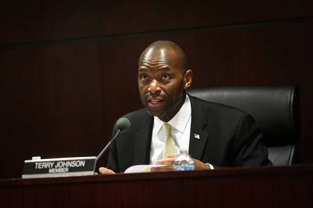 Member Terry Johnson of the state Gaming Control Board speaks during a board meeting at the Gra ...
