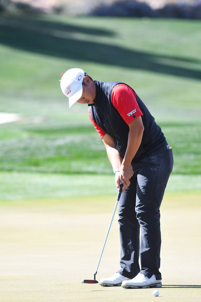 UNLV's Justin Kim competes in the Southern Highlands Collegiate golf tournament in March. Photo ...