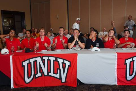 The UNLV men's golf team celebrates its invitation into the NCAA regionals on May 1. (Photo cou ...