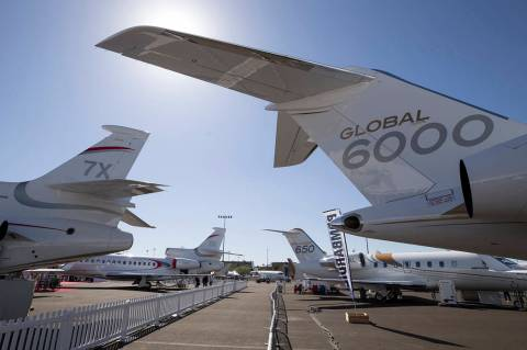 Business jets on display during the National Business Aviation Association (NBBA) convention an ...
