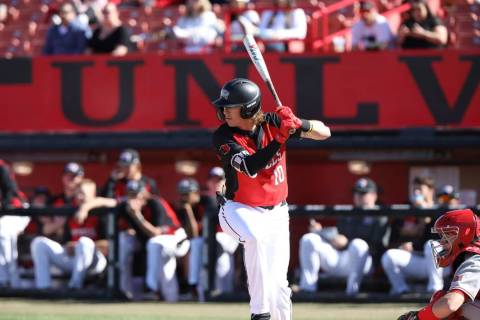 UNLV shortstop Bryson Stott bats in an 8-5 loss to Bradley on March 9 at Wilson Stadium. Photo ...