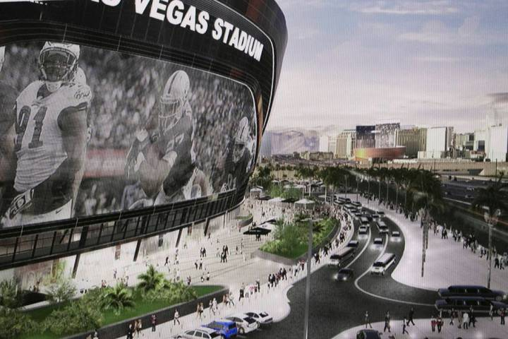 A rendering of the new Raiders stadium during a presentation about the Las Vegas Raiders stadiu ...