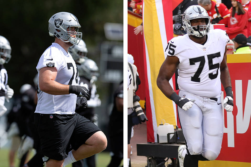 Offensive tackles Kolton Miller, left, and Brandon Parker are looking to shake off trying rooki ...
