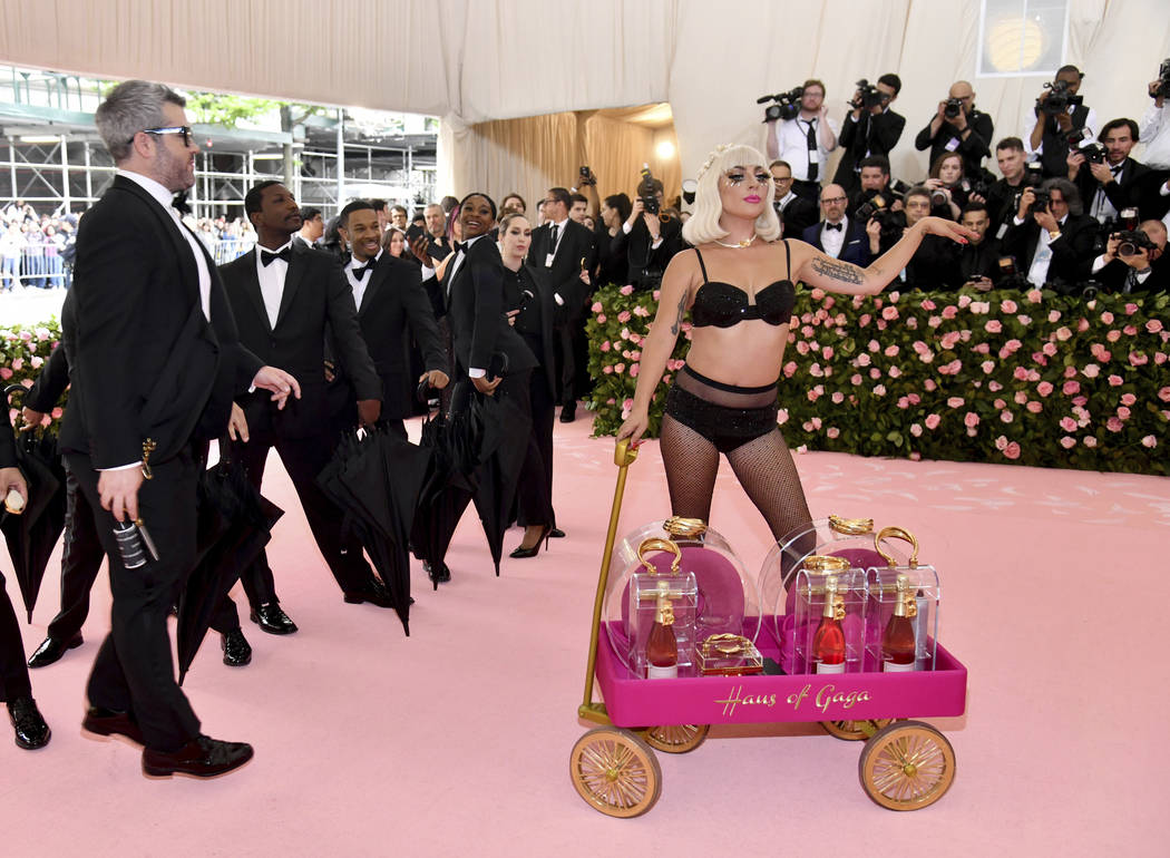 Brandon Maxwell, left, and Lady Gaga attend The Metropolitan Museum of Art's Costume Institute ...