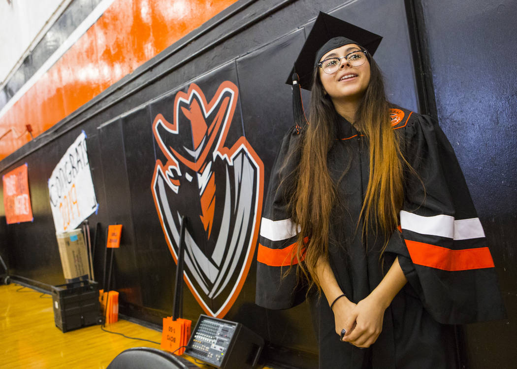 Cassandra Sosa talks about her winning mural during a graduation ceremony rehearsal at Chaparra ...