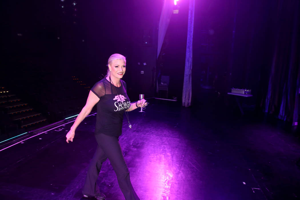 Co-creator Stacy Law-Blind walks on stage during a preview of Showgirl Bootcamp at Saxe Theater ...