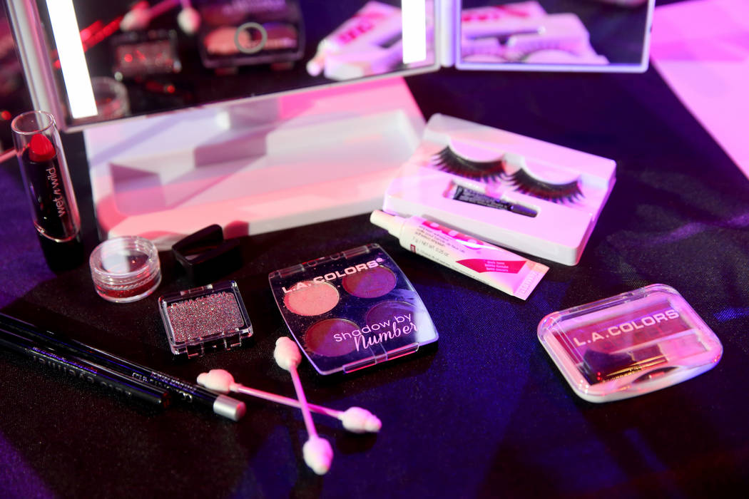 Makeup on stage during a preview of Showgirl Bootcamp at Saxe Theater in Miracle Mile Shops in ...