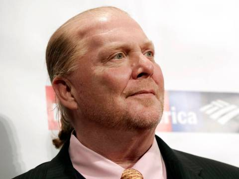 FILE - In this Wednesday, April 19, 2017, file photo, chef Mario Batali attends an awards event ...