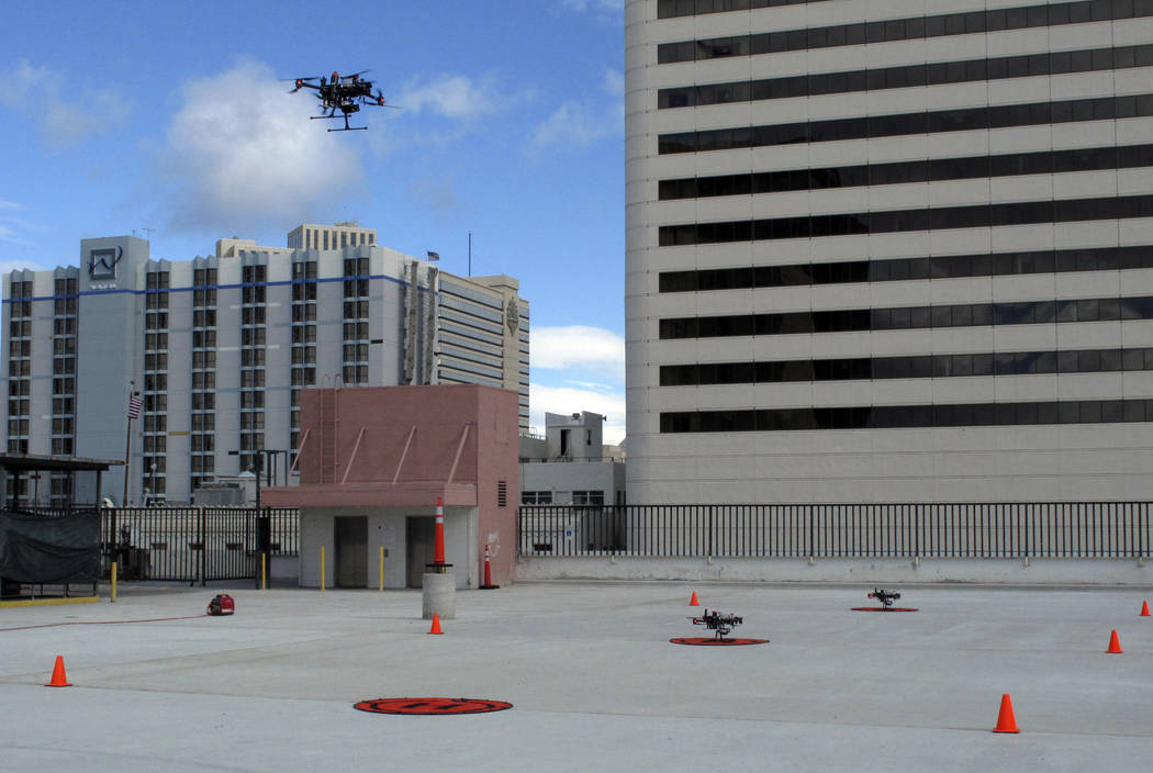 In this Tuesday, May 21, 2019 photo, a drone takes off from the roof of the Cal-Neva casino par ...