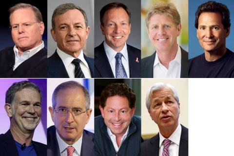 This photo combination shows the highest-paid CEOs at big U.S. companies for 2018, as calculate ...