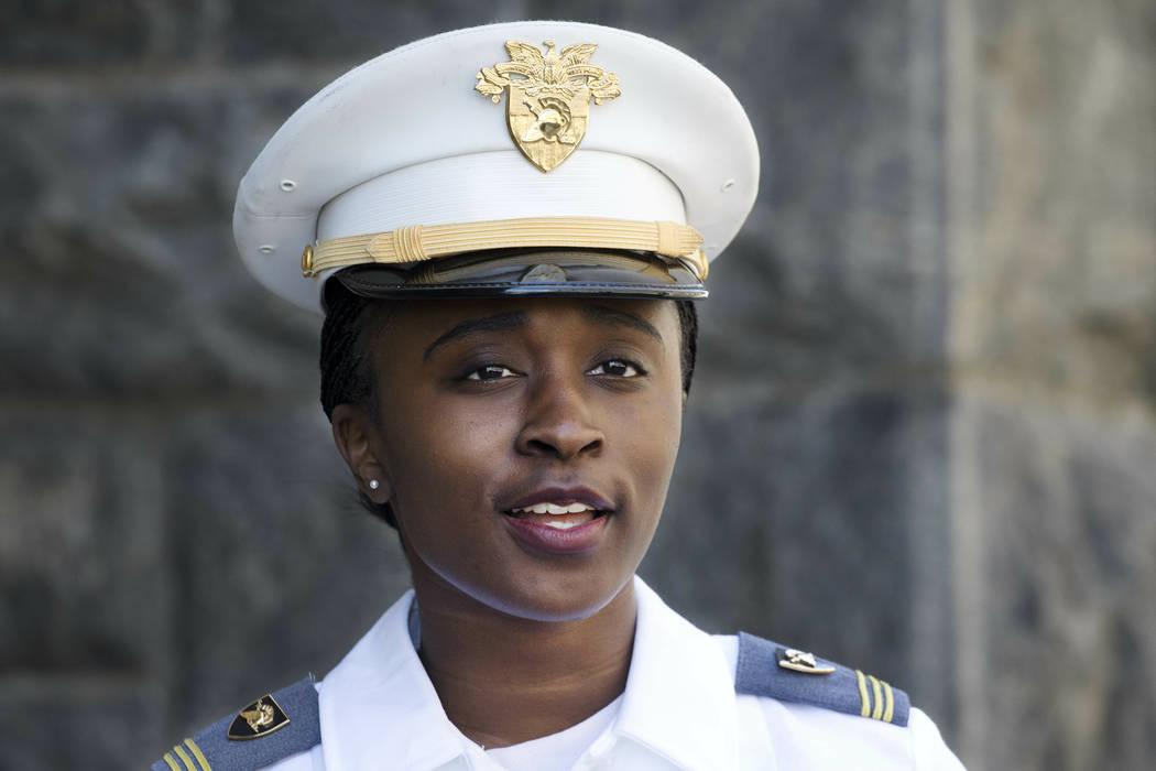 In this May 22, 2019 photo, senior cadet Stephanie Riley, of Jacksonville, Florida talks during ...