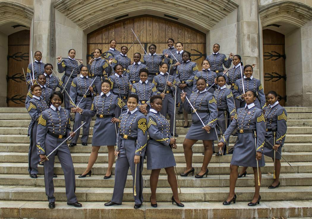 In this May 7, 2019 photo, black female cadets with the Class of 2019 pose at the U.S. Military ...