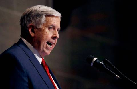 In this Jan. 16, 2019, file photo, Missouri Gov. Mike Parson delivers his State of the State ad ...
