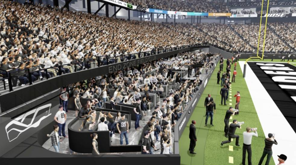 A rendering of the north end zone field-level club announced this week to the Las Vegas stadium ...