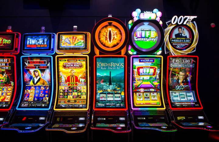 A variety of the J43 slot cabinets at the Scientific Games showroom in Las Vegas on Wednesday, ...