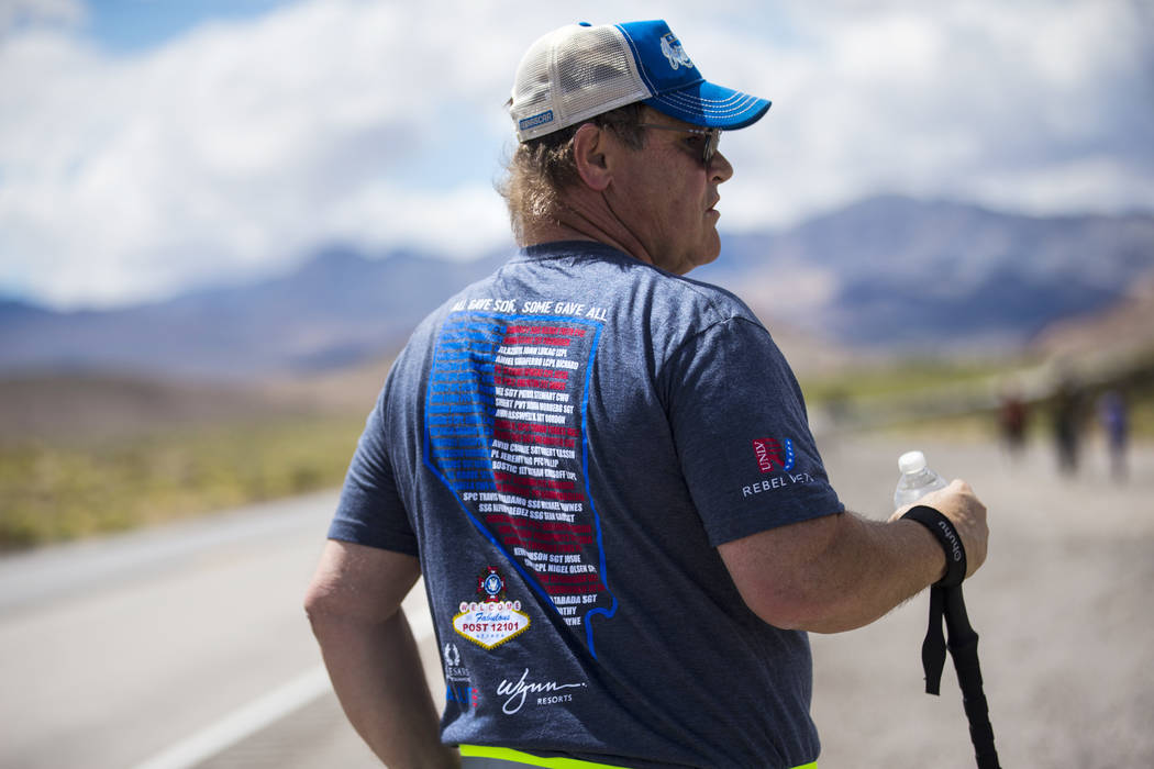 Air Force veteran Tracy Freed, of Beatty, wears a shirt with the names of fallen Nevada veteran ...