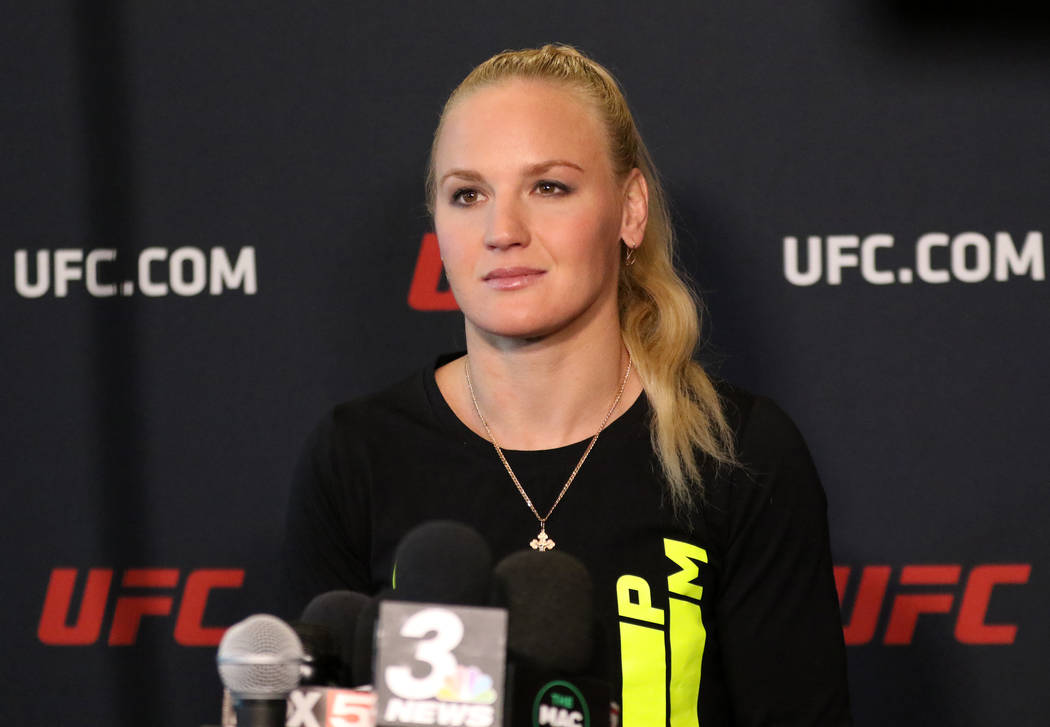 UFC women's flyweight champion Valentina Shevchenko answers questions at a media event at the U ...