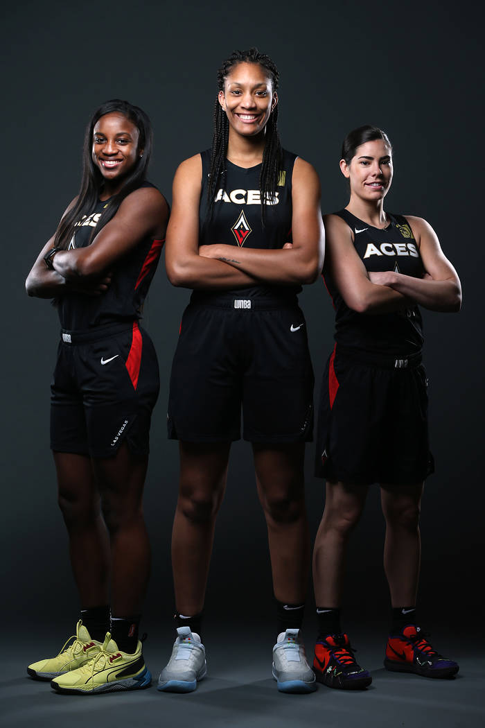 Las Vegas Aces' Jackie Young, from left, A'ja Wilson, and Kelsey Plum, at the Mandalay Bay Even ...