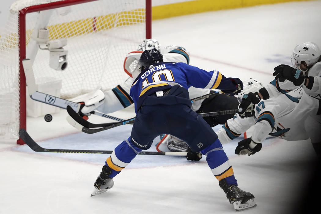 St. Louis Blues center Brayden Schenn (10) scores against the San Jose Sharks during the second ...