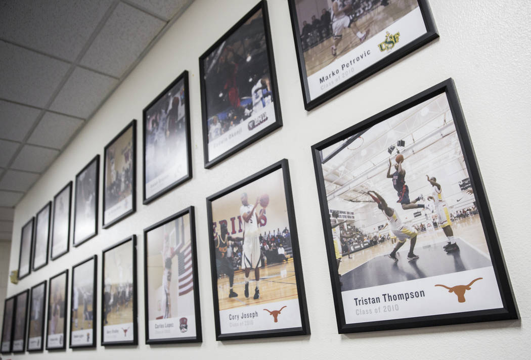 The wall of fame for Findlay Prep ex-players on Friday, November 9, 2018, in Henderson. Benjami ...