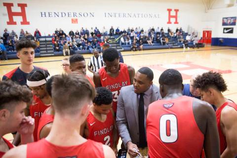 Findlay Prep head coach Rodney Haddix, right, draws up a play during a timeout during the Pilot ...