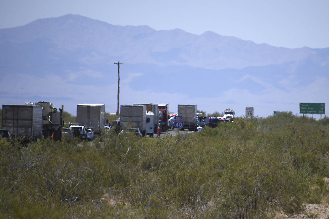 Traffic is stopped on Interstate 40 after a wrong-way crash Friday, May 24, 2019, near Kingman, ...