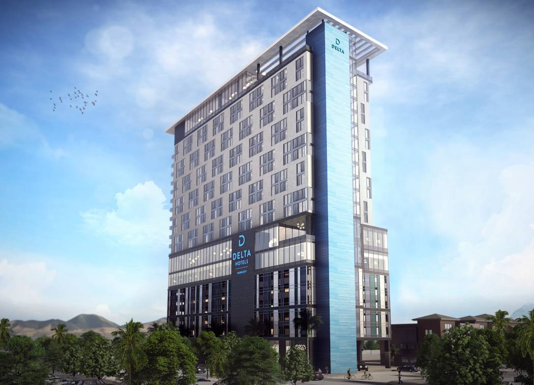Developer CAI Investments plans to build a Delta-branded hotel, a rendering of which is seen he ...
