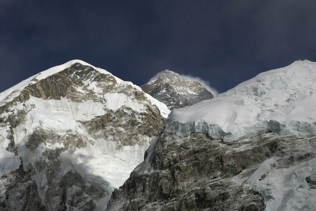Mt. Everest, in middle, (altitude 29,028 feet) is seen on the way to base camp in 2016. (AP Pho ...