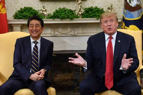 In this April 26, 2019, file photo, U.S. President Donald Trump, right, speaks while meeting wi ...