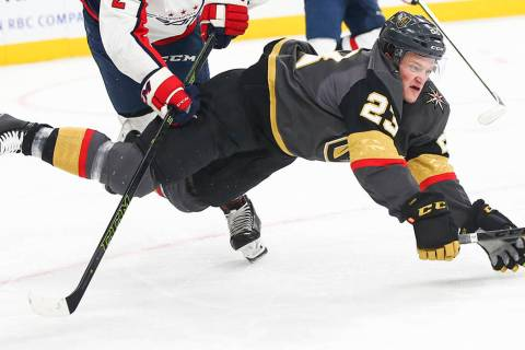 Daniel Carr plays for the Vegas Golden Knights during an NHL game in 2018. (Chase Stevens/Las V ...