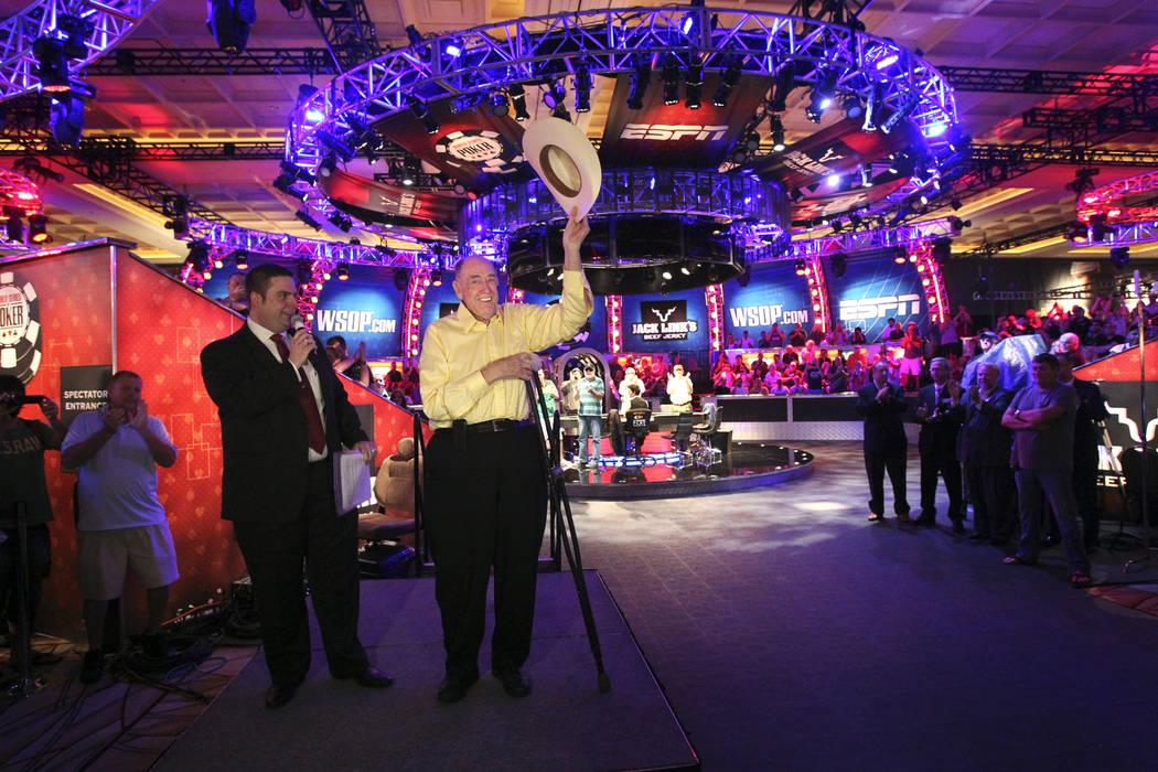 Tournament Director Jack Effel, left, introduces poker legend Doyle Brunson who announced &quot ...