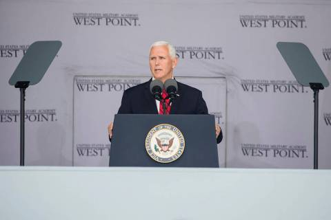 Vice President Mike Pence speaks during graduation ceremonies at the United States Military Aca ...