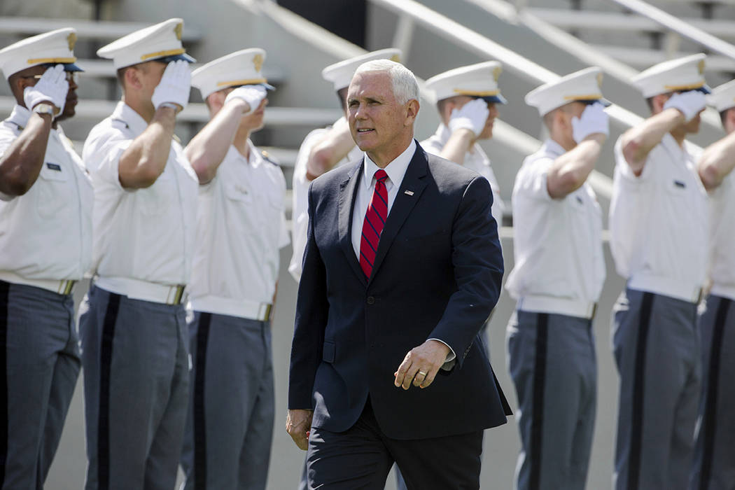 Vice President Mike Pence walks into Michie Stadium during graduation ceremonies at the United ...