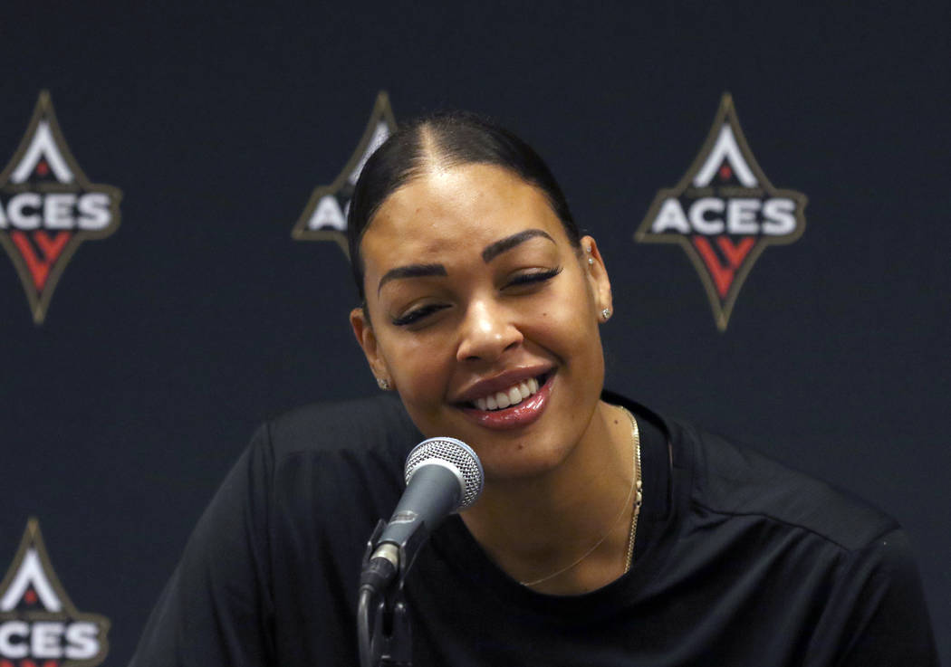 Liz Cambage, two-time All Star, and 2018 league MVP runner up, speaks during a press conference ...