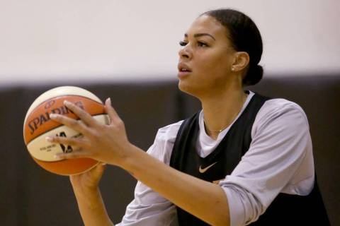 Aces center Liz Cambage during practice at the Cox Pavilion in Las Vegas Tuesday, May 21, 2019. ...