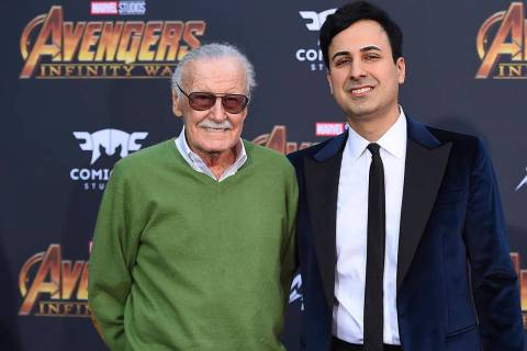 In this April 23, 2018, file photo, Stan Lee, left, and Keya Morgan arrive at the world premier ...